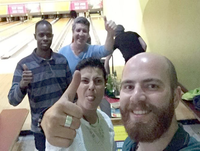Homeless young people from homelessness hostel Shaw Street in Liverpool are the winning bowling team on a night out