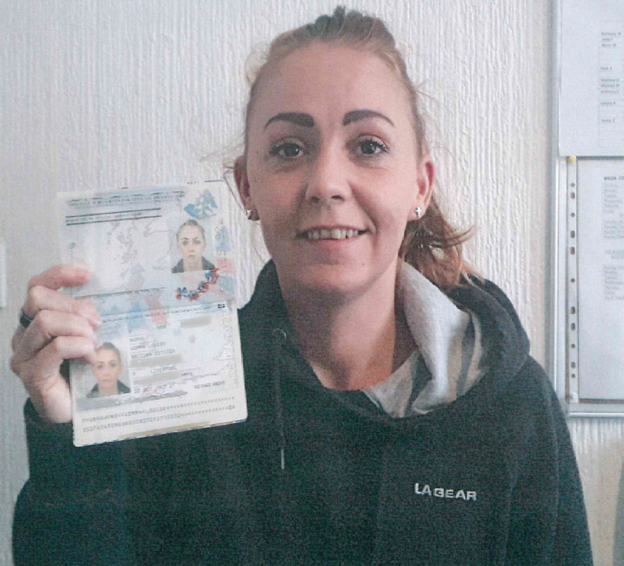 Resident of Park View homeless scheme Gemma with her new passport ID