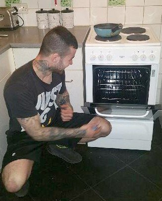 Jonas with his new oven